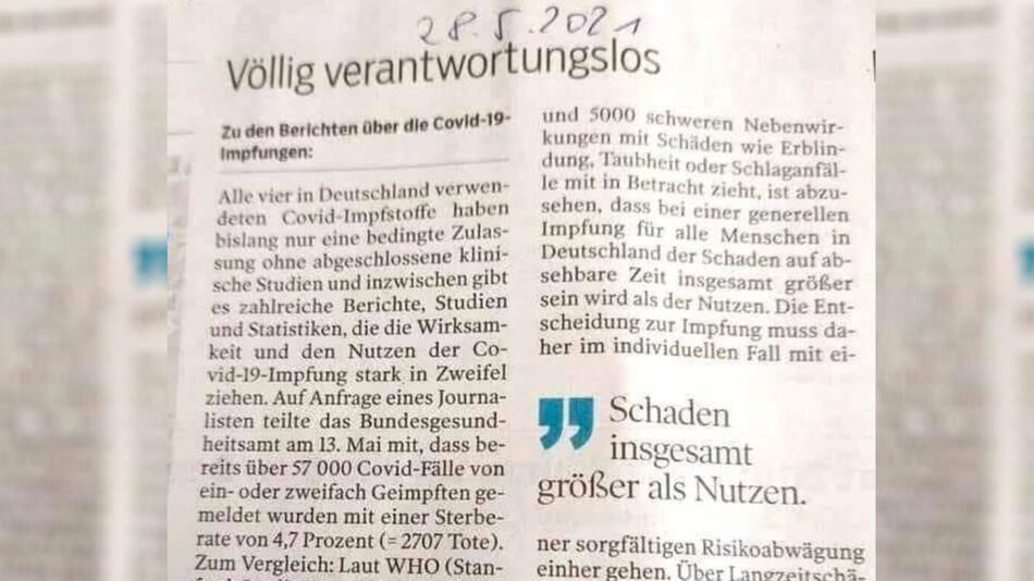 Leserbrief der Göppinger Tageszeitung: Geimpfte sterben häufiger an COVID-19