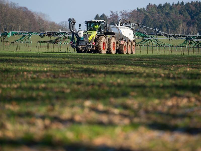 Bild zu Landwirt fährt Gülle aus