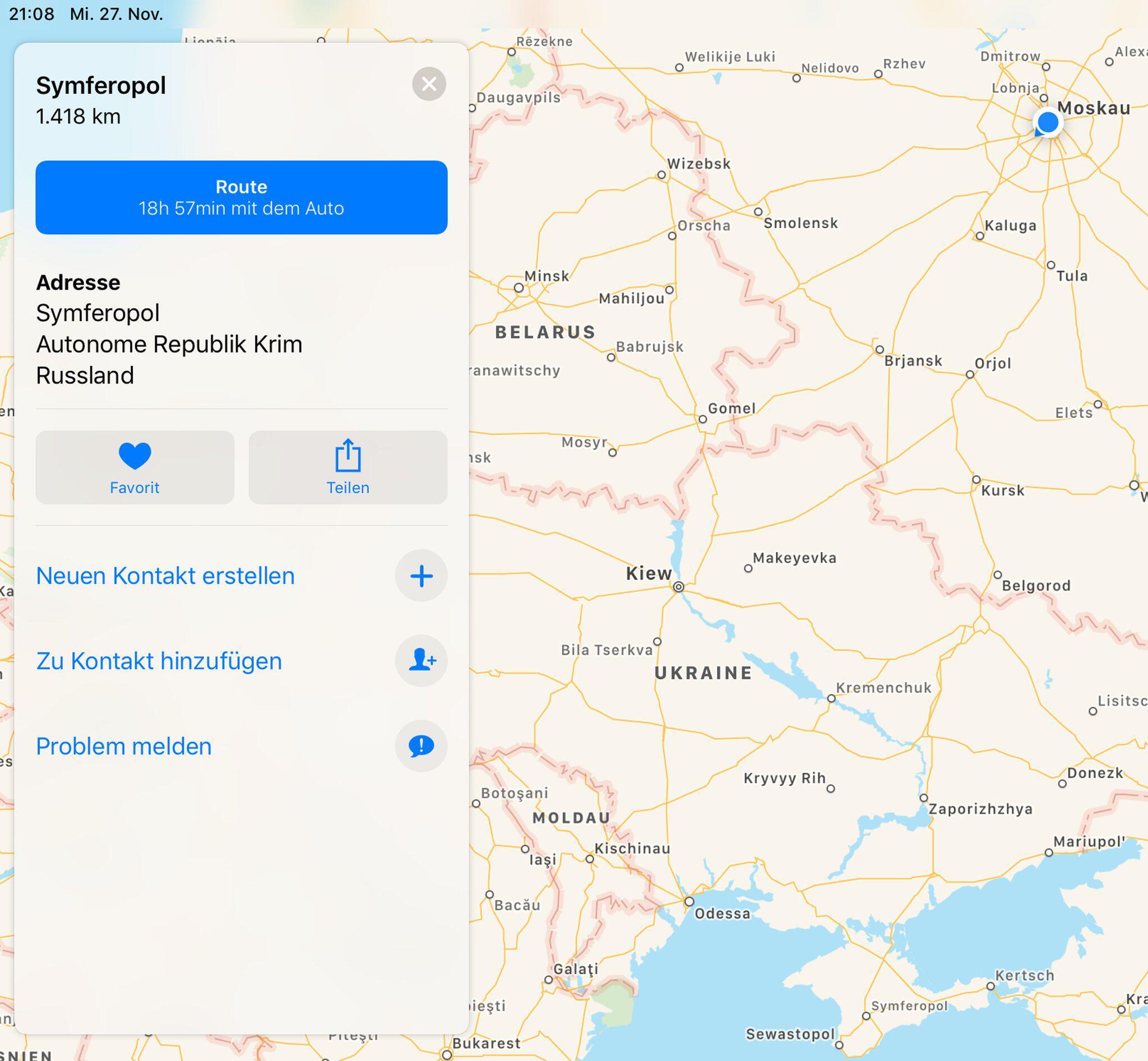 Bild zu Apple zeigt Krim nun als russisches Staatsgebiet