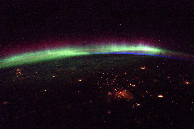 Bild zu Nordlichter von der ISS aus gesehen