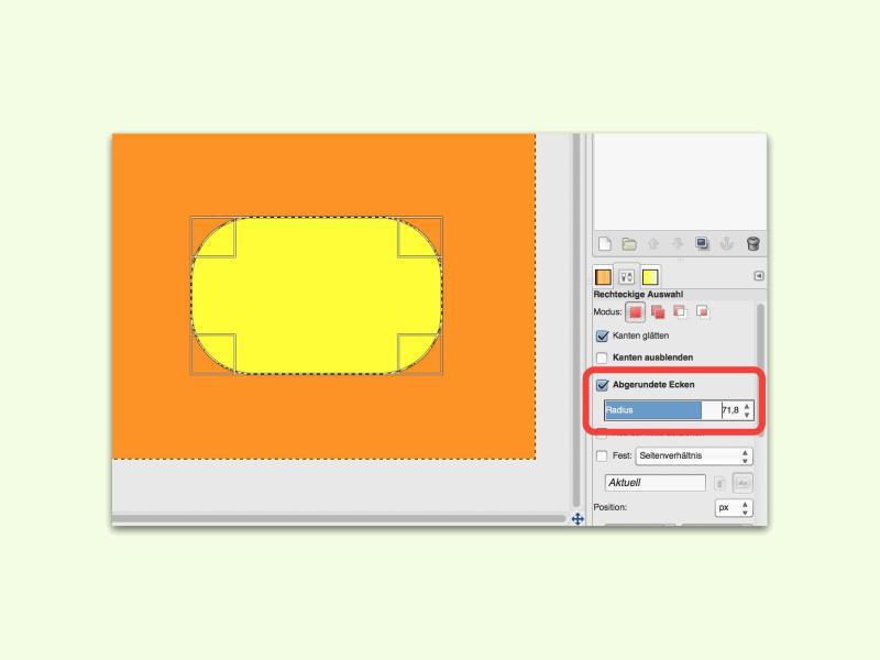 GIMP Flächen mit runden Ecken erstellen