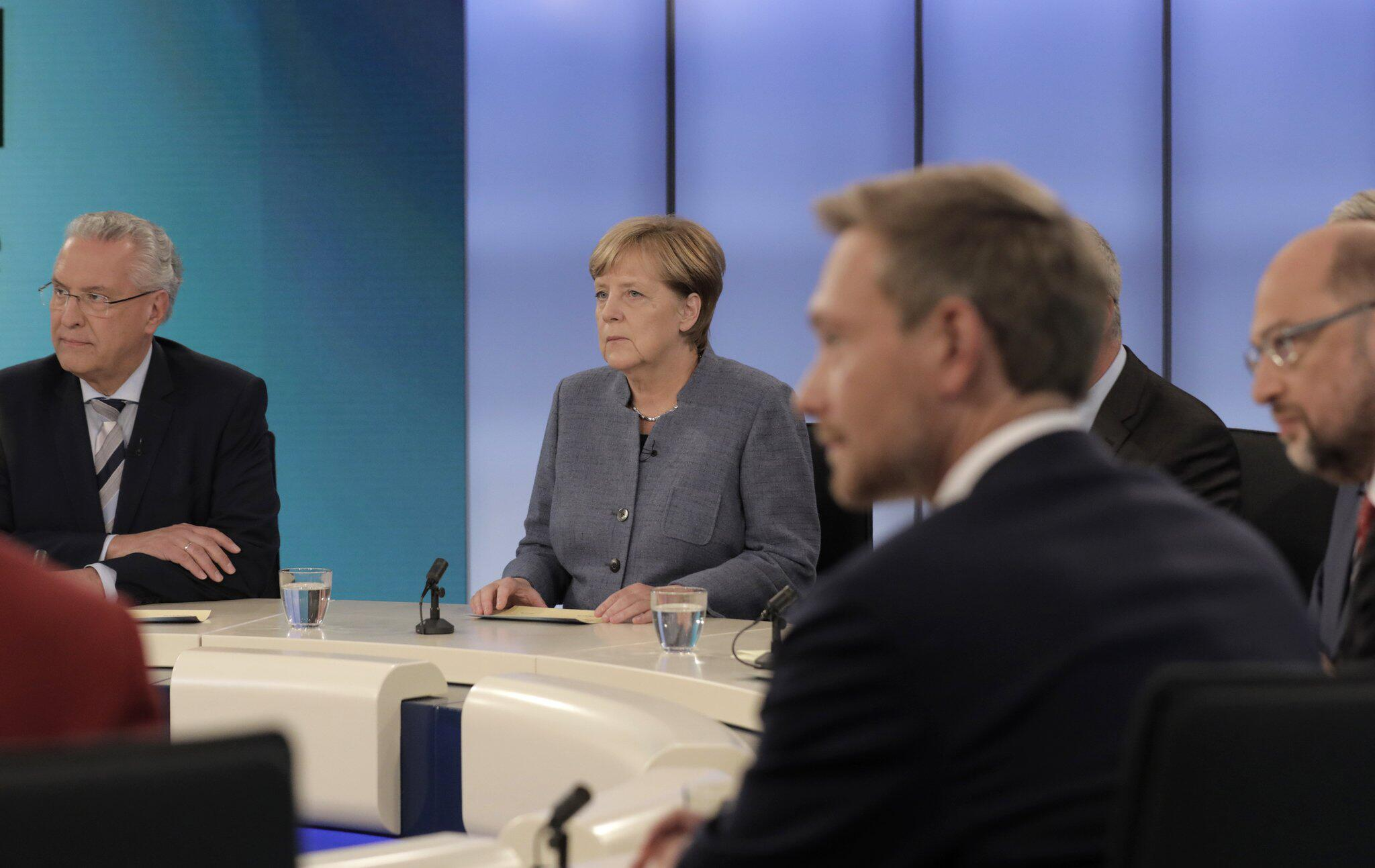 Bild zu Bundestagswahl 2017 Elefantenrunde Angela Merkel Martin Schulz