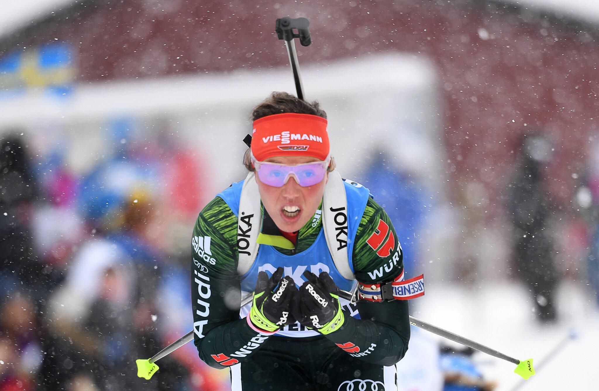 Bild zu Laura Dahlmeier, Biathlon, Östersund, Weltmeisterschaft, Verfolgung