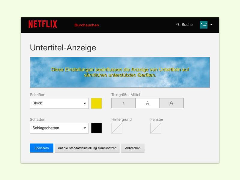 Bild zu Netflix-Untertitel verändern